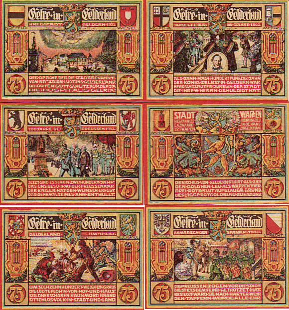 Geldern 6 scheine notgeld 1922 serie c