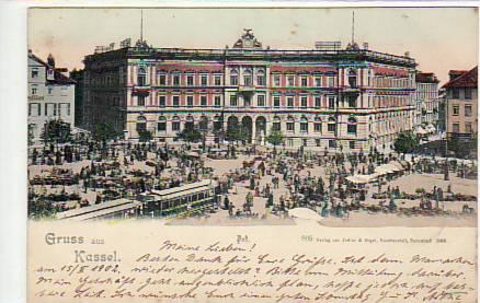 alte ansichtskarten postkarten von antik falkensee kassel markt strassenbahn postamt 1902. Black Bedroom Furniture Sets. Home Design Ideas